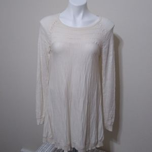Knitted&Knotted Anthropologie White Tunic Sweater